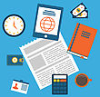 Illustration Concept Of Creative Office Workspace, Workplace, Modern Flat Icons - Vector