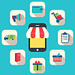 Illustration Concept Of Online Shop, E-commerce, Colorful Simple Icons - Vector