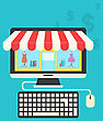 Illustration Concept Of Online Shop, Flat Icons Of Computer, Keyboard And Mouse - Vector