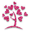 Illustration Concept Of Tree With Shimmering Heart Leaves For Valentines Day - Vector