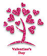 Illustration Concept Of Tree With Shimmering Heart Leaves For Valentines Day. Glitter Postcard - Vector