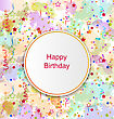 Illustration Confetti Card For Happy Birthday On Grunge Colorful Backdrop - Vector
