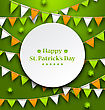 Illustration Congratulation Card With Bunting Hanging Pennants In Irish Colors And Clovers For St. Patricks Day - Vector