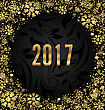 Illustration Cool Border With Golden Snowflakes Decoration On Black Background For Happy New Year 2017 - Vector