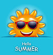 Illustration Cool Summer Sun In Sunglasses, Beautiful Card - Vector