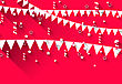 Illustration Cute Background With Hanging Pennants For Carnival Party In Trendy Flat Style - Vector