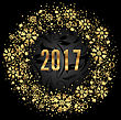 Illustration Cute Round Frame With Golden Snowflakes On Black Background For Happy New Year 2017 - Vector