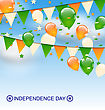 Illustration Decoration Buntings Flags Garlands And Balloons In Traditional Tricolor Of Flag On Blue Sky For Indian Independence Day - Vector
