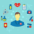Illustration Doctor With Flat Medical Icons For Web Design - Vector