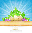 Illustration Easter Background With Eggs, Leaves, Flowers - Vector