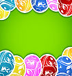 Easter Background With Set Colorful Ornate Eggs