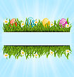 Illustration Easter Colorful Eggs And Camomiles In Green Grass With Space For Your Text - Vector