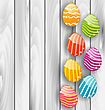 Illustration Easter Glossy Colorful Eggs On Grey Wooden Texture - Vector