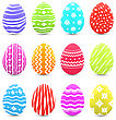 Illustration Easter Many Multicolored Ornate Eggs With Shadows Isolated On White Background - Vector