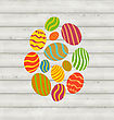 Illustration Easter Ornamental Eggs On Wooden Background - Vector