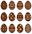 Illustration Easter Set Chocolate Ornate Eggs With Shadows Isolated On White Background - Vector