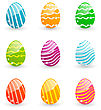 Illustration Easter Set Colorful Ornamental Eggs Isolated On White Background - Vector