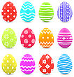 Illustration Easter Set Colorful Ornate Eggs With Shadows Isolated On White Background - Vector