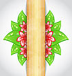 Eco Friendly Background With Green Leaves Flower Wooden Texture