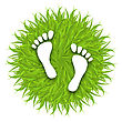 Illustration Eco Friendly Footprints On Green Grass, Concept Of Green Earth - Vector