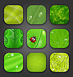 Illustration Ecologic Backgrounds With Leaves Texture For The App Icons - Vector