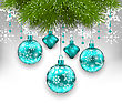 Illustration Elegant Xmas Background With Glass Hanging Balls And Fir Twigs - Vector