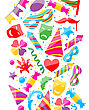 Illustration Festive Background With Carnival And Party Colorful Icons And Objects - Vector