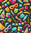 Illustration Festive Carnival Seamless Wallpaper With Colorful Objects - Vector