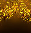 Illustration Festive Firework Bursting, Holiday Background - Vector