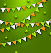 Illustration Festive Flags With Clovers For Happy Saint Patricks Day - Vector