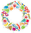 Illustration Festive Round Frame With Carnival Colorful Objects, Copy Space For Your Text - Vector