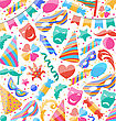 Illustration Festive Wallpaper With Carnival And Party Colorful Icons And Objects - Vector