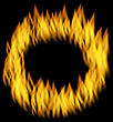 Illustration Fire Flame In Circular Frame Isolated On Black Background - Vector stock vector