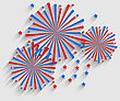 Illustration Firework Colorized In Flag US For Celebration Events, Flat Style Long Shadow - Vector
