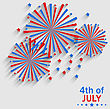 Illustration Firework Colorized In Flag US For Celebration Independence Day, Flat Style Long Shadow - Vector stock vector
