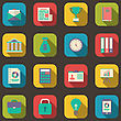 Illustration Flat Colorful Icons Of Web Business And Financial Objects, Long Shadow Style - Vector