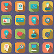 Illustration Flat Colorful Icons Of Web Design Objects, Business, Office And Marketing Items - Vector