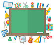 Illustration Flat Icons Of Blackboard And Other Elements And Objects For High School - Vector