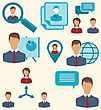 Illustration Flat Icons Of Business People Showing Presentation Online Meetings Discussion Teamwork Analysis And Graphs - Vector