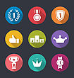 Illustration Flat Icons Collection Of Awards And Trophy Signs, Long Shadow Design - Vector