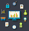 Illustration Flat Icons Concepts For Business, Finance, Strategic Management, Investment - Vector