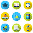 Illustration Flat Icons Of Elements And Objects For High School And College Education With Teaching And Learning, Long Shadow Style Design - Vector