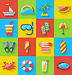 Illustration Flat Icons Of Holiday Journey, Summer Symbols, Sea Leisure, Colorful Minimalist Icons With Long Shadow - Vector