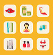 Illustration Flat Icons Set With A Central Woman Surrounded By Hat, Creams, Shoes, Hairbrushes, Perfume, Tools For Manicure, Nail Polishes And Underwear - Vector