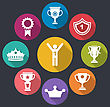 Illustration Flat Icons Set Of Rewards And Trophy Signs, Long Shadow Design - Vector