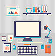 Illustration Flat Icons Of Trendy Everyday Objects, Office Supplies And Business Items For Daily Usage - Vector