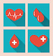 Illustration Flat Medical Icons Of Donate Blood With Long Shadows - Vector
