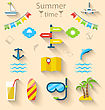 Illustration Flat Modern Design Set Icons Of Travel On Holiday Journey, Tourism Objects And Equipment - Vector