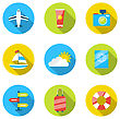 Illustration Flat Modern Set Icons Of Traveling, Planning Summer Vacation, Tourism And Journey Objects - Vector