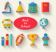 Illustration Flat Simple Icons Of Elements And Objects For High School, Long Shadow Style Design - Vector